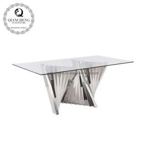 2019 la parte superior de vidrio moderna mesa de comedor con una base metálica