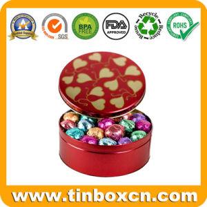 Lata Redonda de grado alimentario con chocolate, chocolate tin box