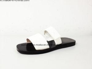 Chaussures de femmes de poussoir de Madame Fashion Flat Heel Sandal de confort
