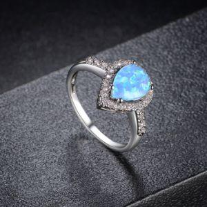 最新の様式の宝石類の白い金のめっきされた模造Opal石造りのリング