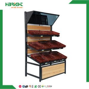 Supermarché collations alimentaire des présentoirs en bois