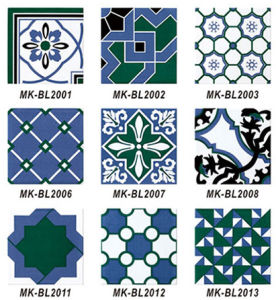 Popular estilo Mediterráneo azul y blanco decoración patrón mosaico de pared