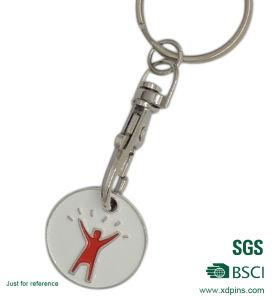 판매를 위한 주문 둥근 금속 트롤리 명목 열쇠 고리