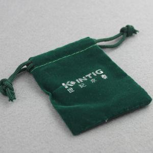 カスタマイズされた緑のドローストリングのビロードのギフトの袋袋