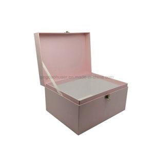 Rosa de la moda de lujo asas en forma de maleta de cartón Caja de regalo