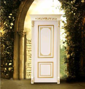 Portello di entrata di legno solido con la scultura del prezzo del portello
