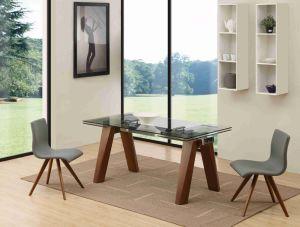 Restaurante de extensión de la mesa de comedor madera maciza de vidrio
