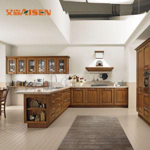 2018 Modular Estilo Antigo mobiliário de madeira escura armário de cozinha sólidos de madeira fabricados na China