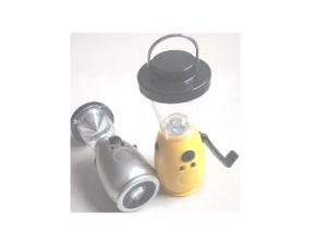 1つの手動クランクのダイナモキャンプライト、3+1のLEDのFMのラジオが付いている屋外の懐中電燈のランタンに付きABS 3つ
