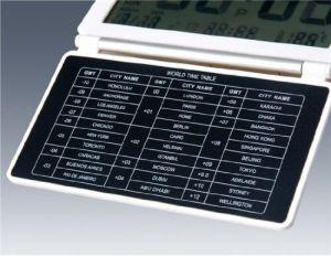 ポータブル超薄い無声LCDデジタルのラージ・スクリーン折りたたみ旅行机の電子目覚し時計