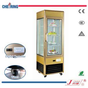 En position verticale six côtés gâteau d'affichage vitrine réfrigérée