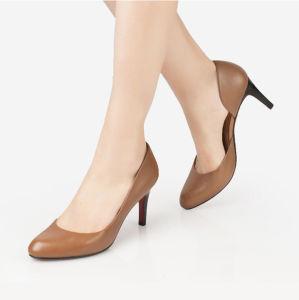 Alta calidad de mujer Zapatos de Tacón suela exterior de goma en color marrón