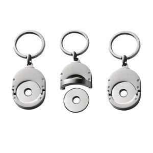 Preiswerte Preis-Metallfertigkeit Keychain Laufkatze-Scheintransportgestell-Münze kein Farbton (020)