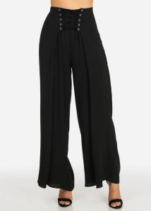 Les femmes de haute élévation léger noir ceinture élastique large pantalon  jambe 5c0a3700d8e