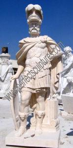 Het snijden van Beeldhouwwerk van het Standbeeld van de Strijder van de Steen het Marmeren voor de Decoratie van de Tuin (sy-X1310)