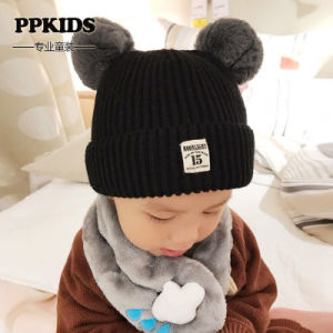 二重POM Pomsの球は赤ん坊の帽子の男の子の女の子の幼児のかぎ針編みの帽子のHairballの耳の赤ん坊の帽子の子供のためのかわいい子供の帽子の冬の帽子を編んだ