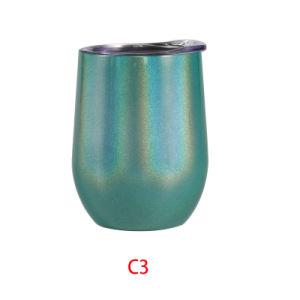 卸売によって絶縁されるきらめきのRanbowのワインのコップ、Oz Stemlessステンレス鋼のエッグカップは12の蛍光タンブラーに掃除機をかける