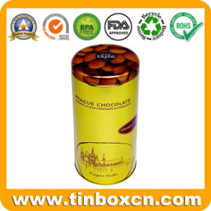 Grau alimentício Golden Verniz Caixa de metal CAN redondo Estanho Chocolate com Bujão Tampa para embalagens de chá de doces