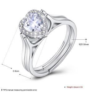 925純銀製のハート形のダイヤモンドの二重リング