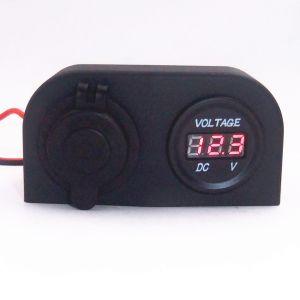 Alimentación de la luz de cigarrillos Voltímetro Medidor de tensión más ligero Panel Indicador LED con 2 agujeros de la tienda de alquiler de barco Marine