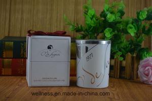 Vela de cera de soja natural em vidro com caixa de oferta
