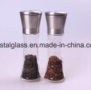 Edelstahl-Salz-und Pfeffer-Schleifer-Set von 2, 6 Unze hohe Glaskarosserie