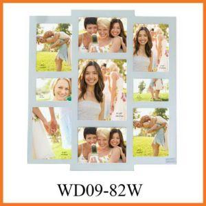 Деревянные белый 9 Открытие коллаж Photo Frame (WD09-82W)