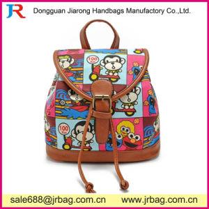 China Wholesale dama moda mochila de lona con cara de cuero