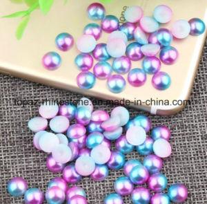 Acrílico azul Ab Semirredondeada White&coloridos cordones Azul perla ABS para Nail Art decoración (NR-28)