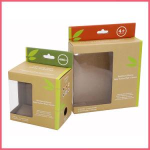 Fsc impresas personalizadas de papel corrugado Producto Bambú cuenco cuchara utensilio de plato de la placa de vajilla de embalaje de juguete de Regalo de caja de cartón de embalaje con orificio para colgar de la ventana