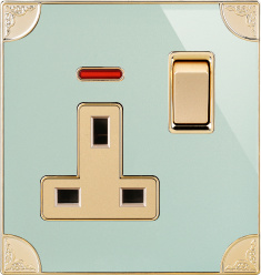 La norme britannique Square-Pinned 13une prise de courant commutée avec néon (N1)