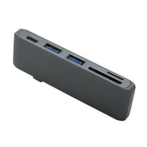 Tipo C 5 en 1 USB 3.0 HUB Combinado para el MacBook Aluminio Adaptador Multi-Port Lector de Tarjetas de Sincronización de Datos de Carga para el MacBook Pro