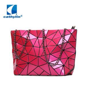 7ded85a34 Bolsa geométrica PU Cadeia Couro Crossbody Wallet Senhora Saco da Embreagem