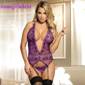Fantasy violet nuisette en dentelle avec jarretière Lingerie Sexy col V