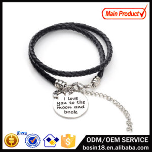 Modo Zinc Alloy Charm Custom Leather Bracelet per Couple