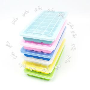 No reutilizables ecológica Stick de silicona personalizadas de Calidad Alimentaria de la bandeja de cubitos de hielo con tapa