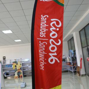 3.4mのイベントの昇進のアルミニウム二重側面の印刷の飛行の旗か羽のフラグ
