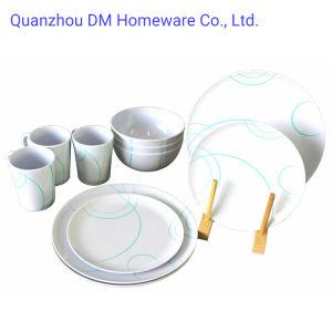 12 pzas 16 PC Estilo Concies Diseño simple Melamina de plástico de la cena Ware parte Conjunto de vajilla de platos