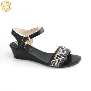 2015 Mode Loisirs occasionnels Mesdames plat noir sandales (Y027-AC146B-2)