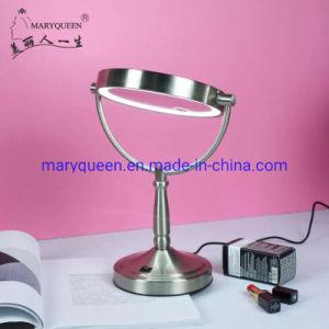 7''양면 조명 광기 미러 1X/3X 또는 5X 또는 10X 또는 12X 돋보기 LED 니켈 마감 외관 미러