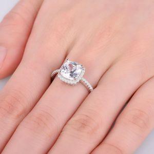 王女のが付いているCut Cubic Zircon 925銀製のリング