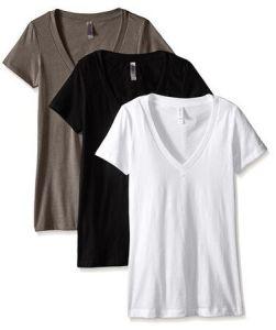 짧은 소매, 깊은 V 목 및 Confortable 직물로 특색짓는 면 혼합 V 목 t-셔츠
