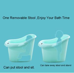 シートが付いている大きく、深いプラスチック赤ん坊の子供の浴槽