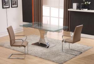 Vierecks-Raum-ausgeglichenes Glas-Speisetisch mit dem Edelstahl-Bein