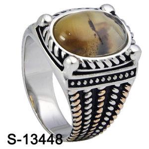 Nieuwe & Gepersonaliseerde Ontwerpen 925 de Echte Zilveren Ring van Mensen met Natuurlijke Steen (s-13448)