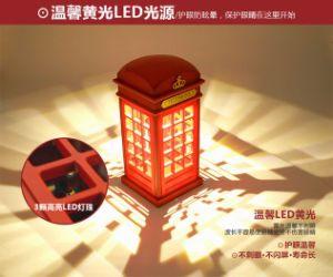 Cabina telefónica londinense LED recargable luz nocturna, toque de luz Power-Saving Phane