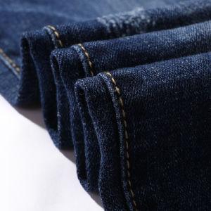 Vintage lavado de algodón poliéster tejido Denim Stretch Jeans hombre largo