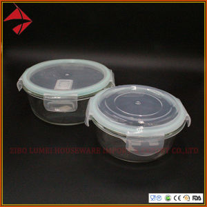 Elegante Cocina de vidrio resistente al calor de contenedores de almacenamiento de alimentos Galss Contenedor de alimentos con la Ronda