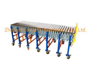 Компактный ребристую войлочную ленту с приводом от ремня погрузка и разгрузка выдвигаемая роликовый конвейер