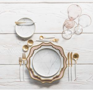 El hueso de cerámica CENA cena de vajilla de Bodas al por mayor conjunto de placas de mármol blanco de la placa de la serie